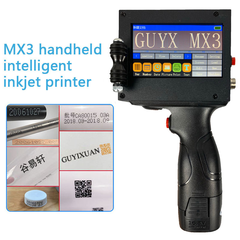 MX3 Handheld Intelligent Inkjet Printer Small Machine Product Date Food Packaging Code Machine Batch Number Sweep Spray Gun