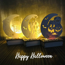 New LED Light Halloween Decoration DIY Wooden Pendant Ghost Festival Party Supplies Home