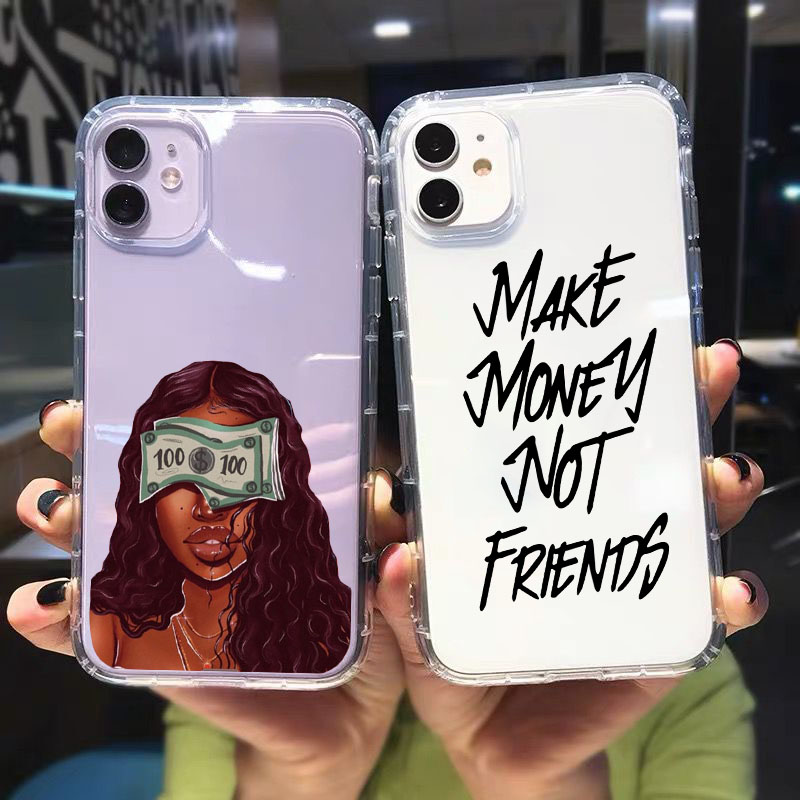 GYKZ MAKE MONEY Not Friends Clear Phone Case For iPhone 12 11 Pro XR X XS MAX SE20 7 8 Plus Afro Black Girl Silicone Cover Coque