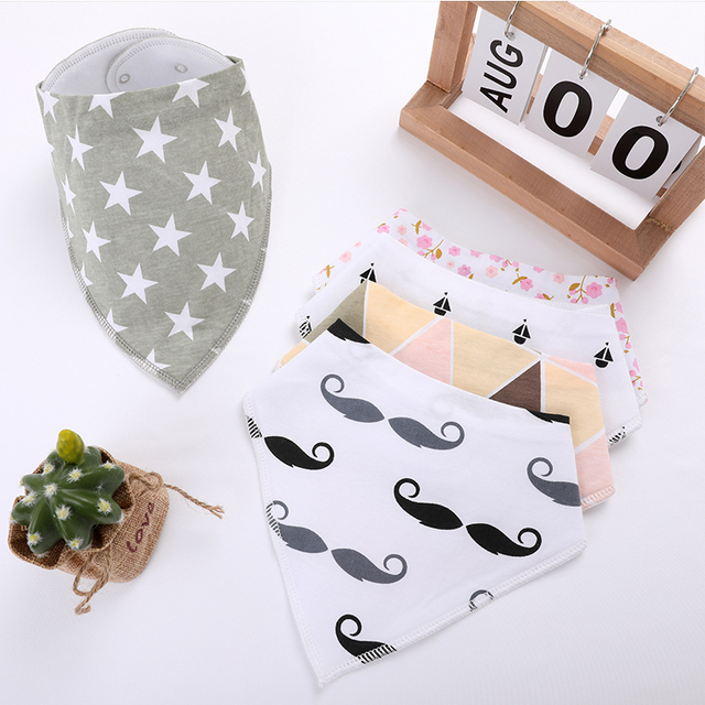 1Pcs Unisex Baby Bandana Drool Bibs Adjustable Snaps Bibs For Drooling&Teething 100% Cotton Newborn Bibs Useful Baby Accessories