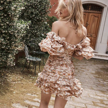 2019 Off Shoulder Strapless Sexy Women Mini Dress Bodycon Party Summe/Spring Vocation Folral Printed
