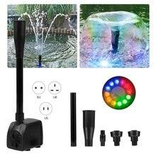 15w usb bomba de água ultra-silencioso com cabo de alimentação fonte à prova dwaterproof água com 12 led luz para jardim bomba de água aquário fonte