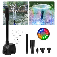 Bomba de agua USB ultrasilenciosa con cable de alimentación, fuente impermeable con 12 luces LED para jardín, fuente de acuario