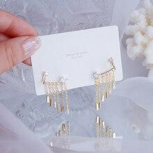 Luxury Temperament Bling Zircon Tassel Earring for Women 14k Real Gold Earclip Charm Wedding Engagement Clip Earring Jewelry