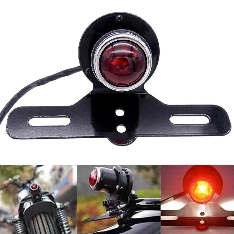 Motorcycle RED Brake Tail Rear Light Bulb Motorbike Turn Signal Brake Lights For Harley Chopper Bobber Custom 12V Cafe Racer