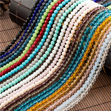 Colorful 4mm/6mm Crystal Round Ball Beads  Faceted Glass Small Sead Becklace for Jewelry Making Diy