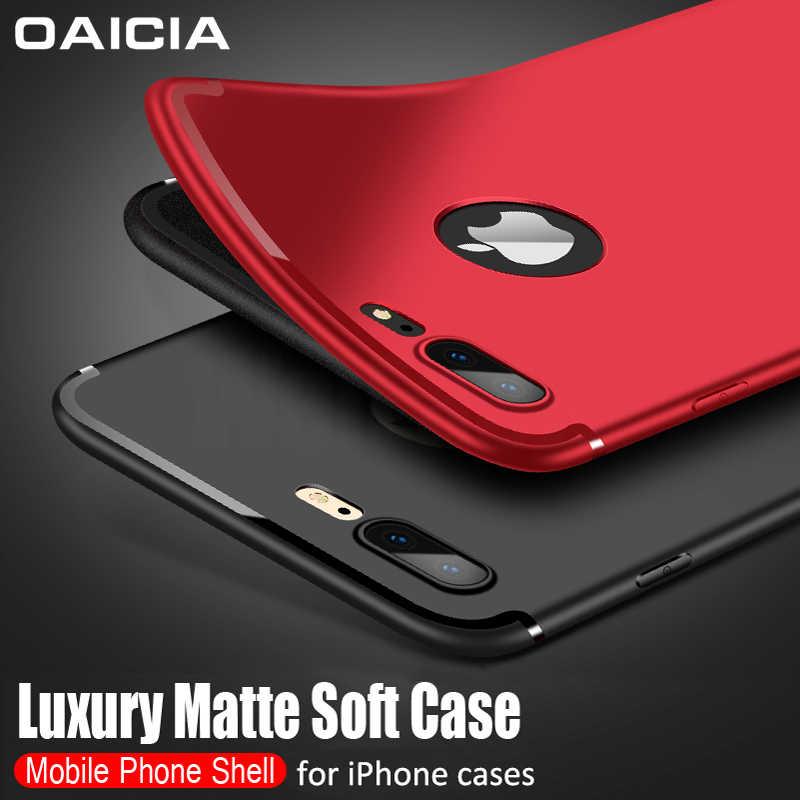 Silikon telefon iPhone için kılıf 6 6s 7 8 artı 5s SE kılıfları sevimli yumuşak kapak iPhone X XR XS Max 11 Pro Max Funda Logo deliği ile