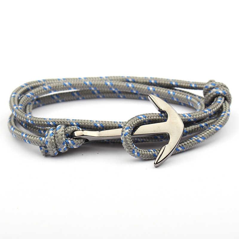 Регулируемый Паракорд якорь браслет для женщин и мужчин шарм браслеты сплав якорь нейлон веревка цепь на руку винтажные браслеты и браслеты