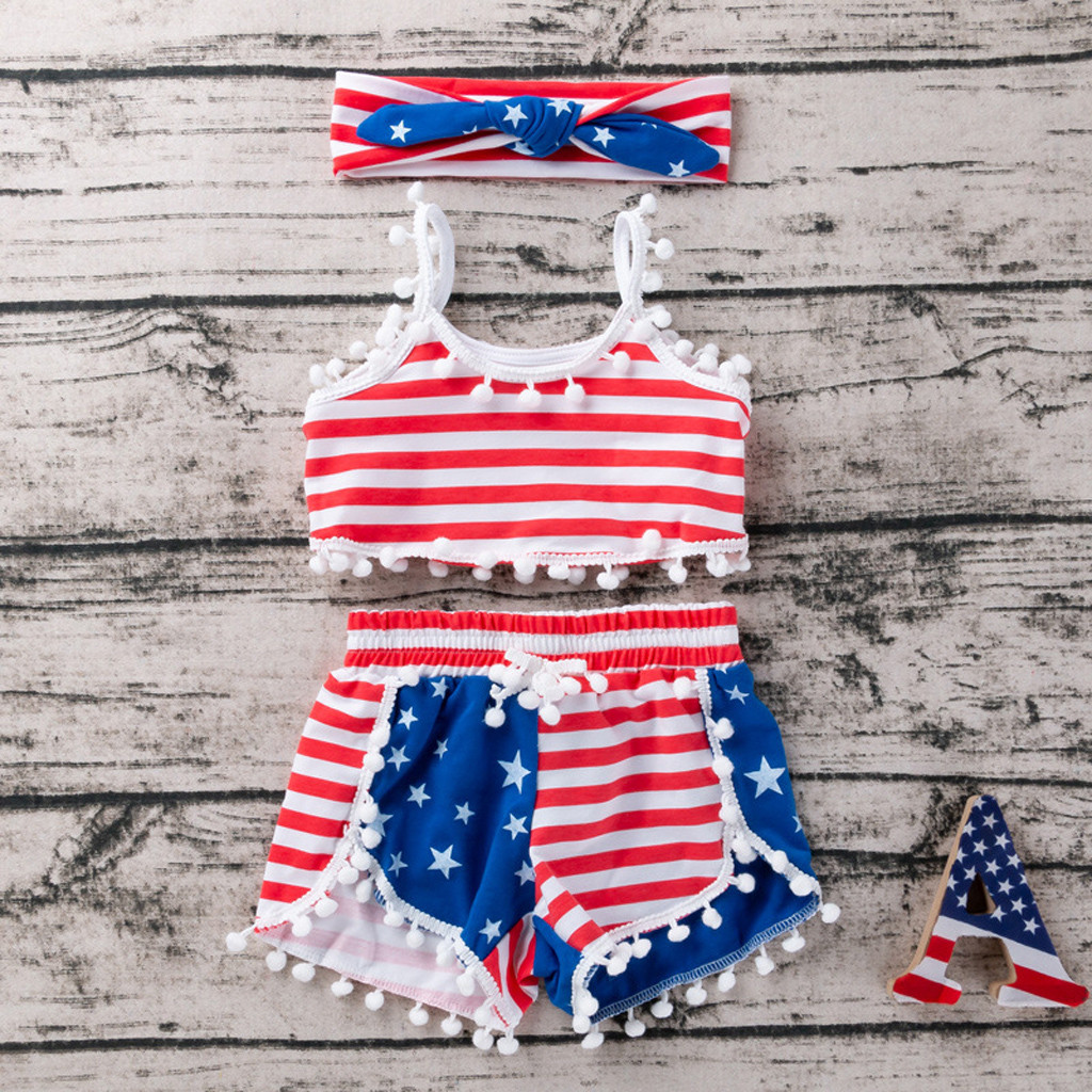 girls toddler children dress pants 4th of july outfit star stripe necklace sz 3t
