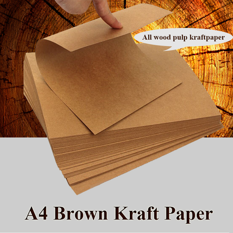 A4 Brown Kraft Paper Cardstock Paperboard Handmade DIY Package Watercolor Painting Origami Crafts 20 50 Sheets Pack