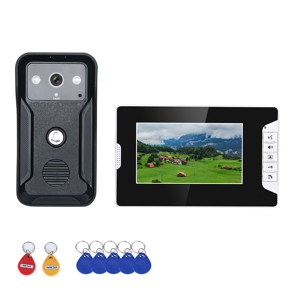 7 inches Wired Video Doorbell RFID Video Door Phone Intercom Doorbell With IR Camera HD TV Line for Access control System