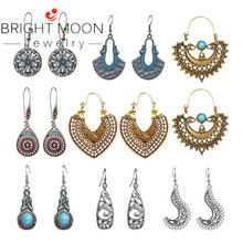 Bright Moon Vintage Statement Drop Dangle Earrings Bohemian National Style Hollow Water Drop Heart Shaped Alloy Long Boho Dangle(China)