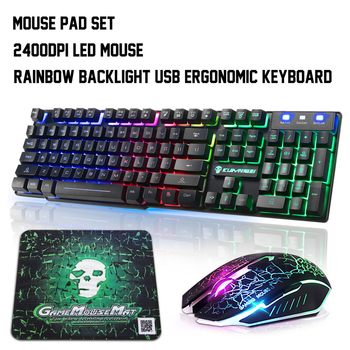 Colorful Backlight USB Keyboard Wired Gaming Keyboards 2400DPI LED Gaming Mouse Combo with Mouse Pad Mix Backlit