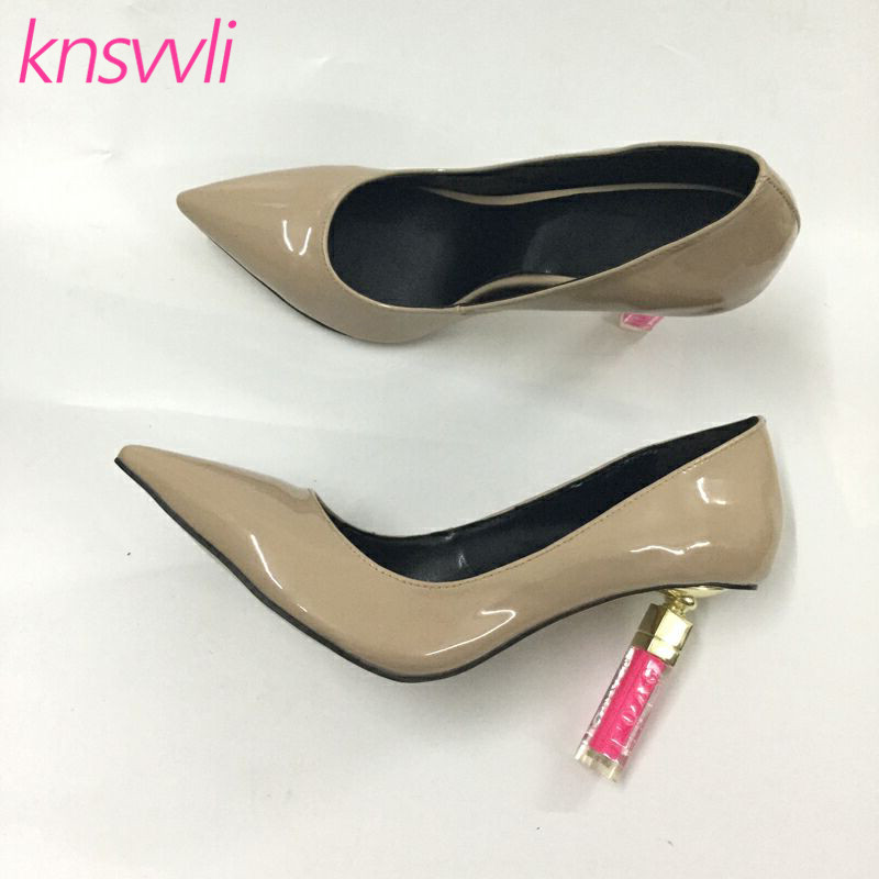 New Lipstick Heels Women Pumps Pointed Toe Patent Leather Runway Party Shoes Woman Strange Style High Heel Zapatos De Mujer