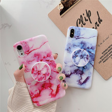 Crenisen Kickstand Finger holder marble cell phone funda coque For Apple iPhone 6 plus case X xs max XR Cover 8 7 6s