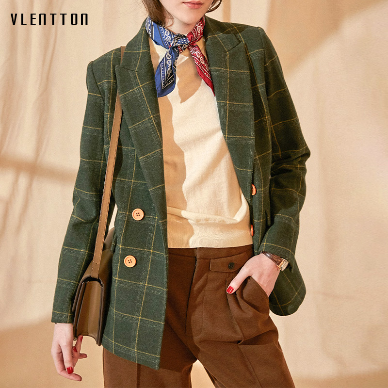 Autumn Winter Vintage Plaid Wool Tweed Jacket Blazer Women Pockets Suit Coat Female Outwear Work Office Blazers Chaqueta Mujer
