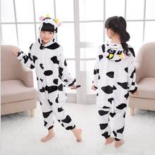 Boy Girl Pajamas Cow Winter Children Pajamas Cartoon Animal Lion Onesie Kigurumi Pyjamas Kids Hooded Baby Sleepwear Jumpsuit(China)
