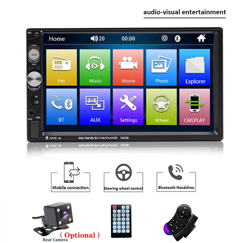 "Universal carro multimídia player 2 din android autoradio estéreo 7 ""tela de toque bluetooth mp5 player câmera visão traseira mirrorlink"