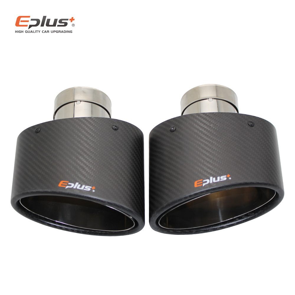 EPLUS Matte Carbon Car Muffler Tip Exhaust pipe nozzle Universal stainless Silver Oval 150mm Tilting left right For Akrapovic image