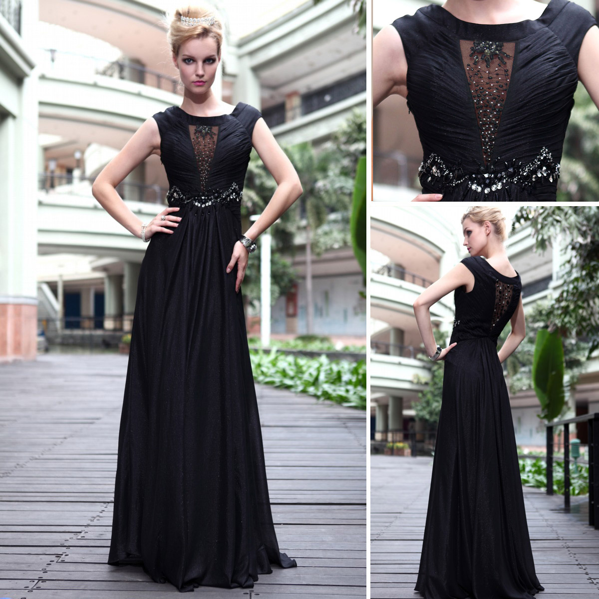 Free Shipping 2016 Black Sexy Slit Neckline Special Occasion Dresses Evening Dress Mother Of The Bride Dresses