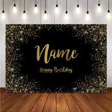 Fond à personnaliser pour studio photos, modèle avec paillette en or et inscription joyeux anniversaire sur panneau noir, décoration de fête à faire soi-même