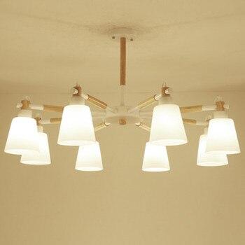 北欧シャンデリアリビングルームのための Pvc ランプシェードで E27 Suspendsion 照明器具 Lamparas Colgantes 木製 110V 220V
