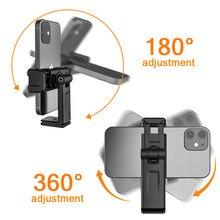 Ulanzi ST-22 360 ° universal horizontal e vertical tiro telefone montagem titular grampo com sapata fria 1/4 mount tripod tripé montagem