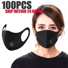 100Pcs Washable elastic Earloop Face Breathing Mask Reusable Cotton Mouth Mask Fashion Black Mask For Adults