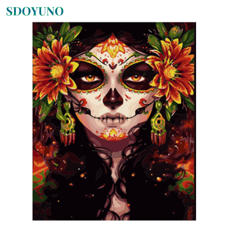 SDOYUNO Pictures By Numbers Skull Girl Painting By Numbers Digital Painting Frameless 60X75cm On Canvas For Home Decoration