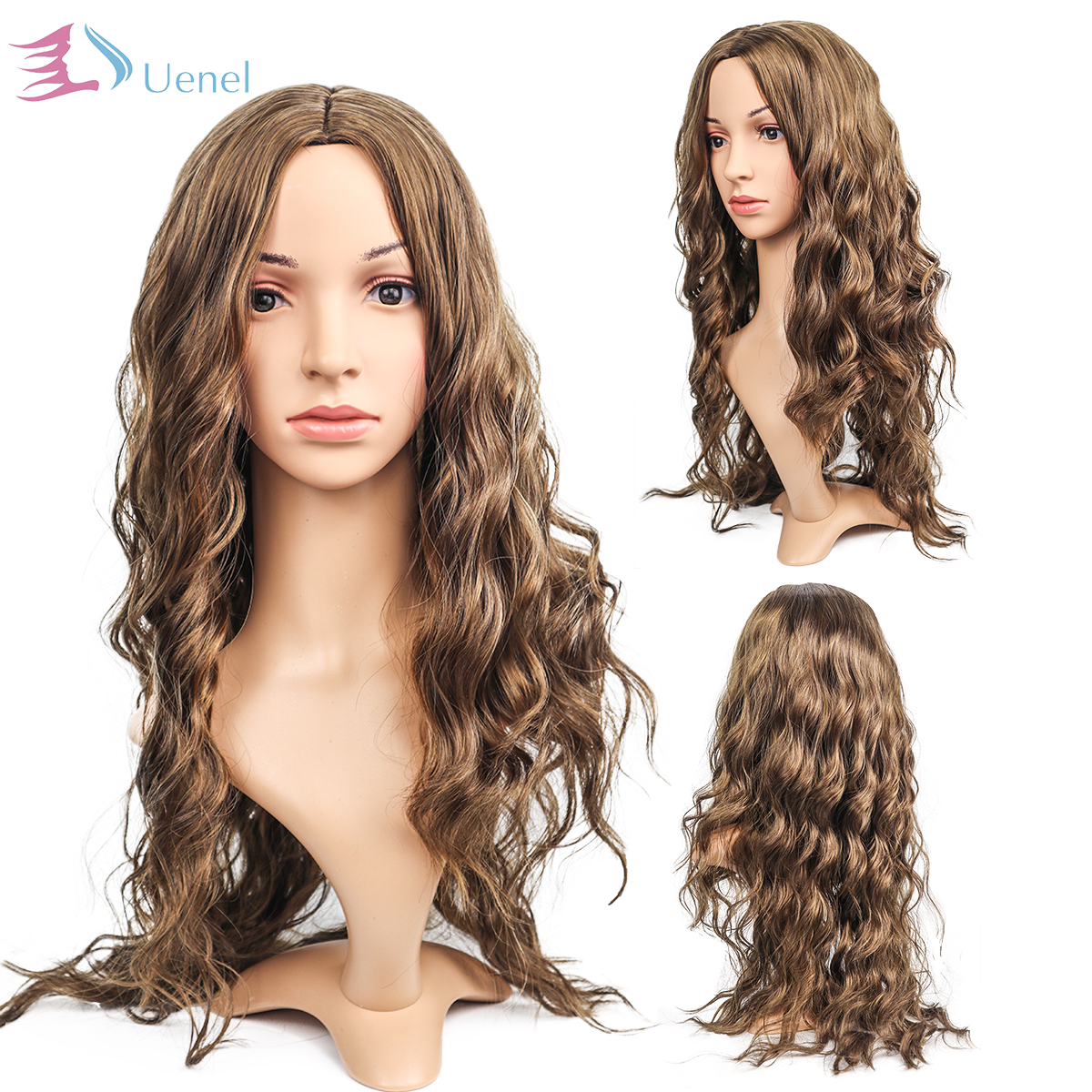 Uenel European and America Burgundy or Brown Long Curly Wigs for Women Fashion Synthetic Hair Cover 28Inch Free Shipping