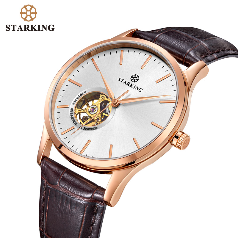 <font><b>STARKING</b></font> Men <font><b>Watch</b></font> <font><b>Mechanical</b></font> <font><b>Watch</b></font> Men Automatic Self-wind Movt Skeleton Brown Genuine Leather Male Wristwatch Sapphire Relogio image