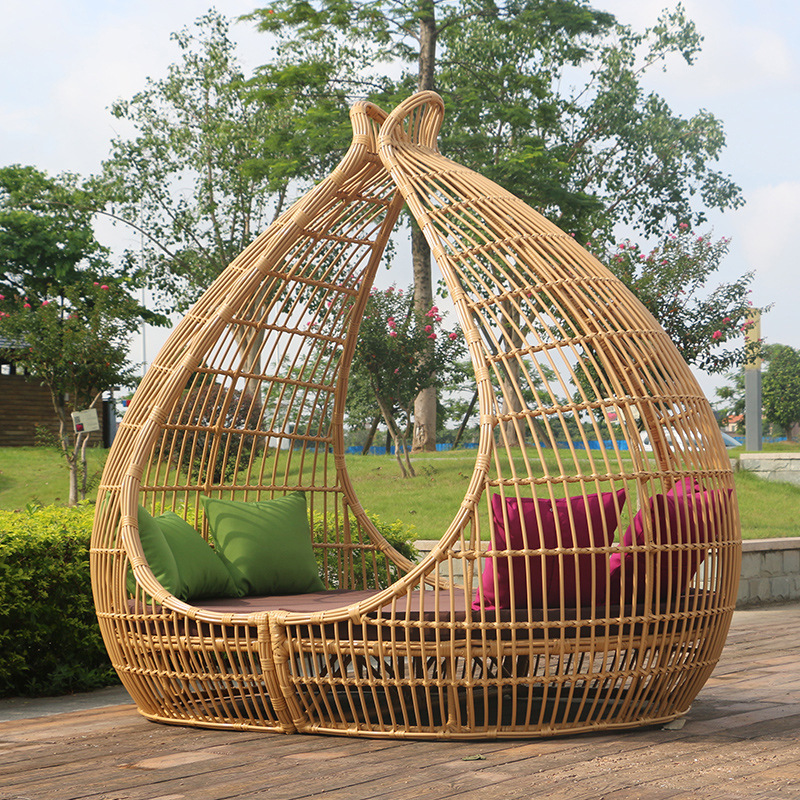 Lounge-Chair Rattan-Bed Beach-Pool Outdoor Modern Casual Combination.