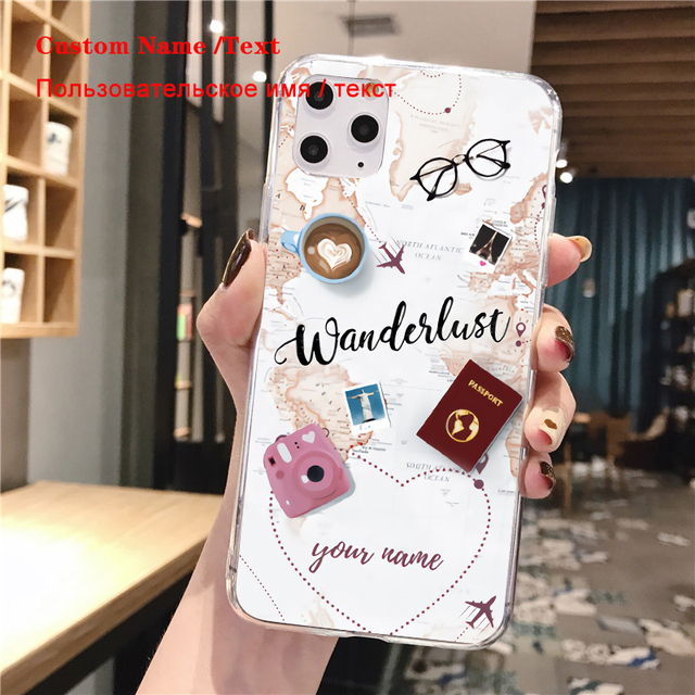 World Map Travel Plans Clear Soft Phone Case For iPhone For iPhone X XS Max 7 8 6 Plus XR Cases DIY Custom Name Line Phone Cover
