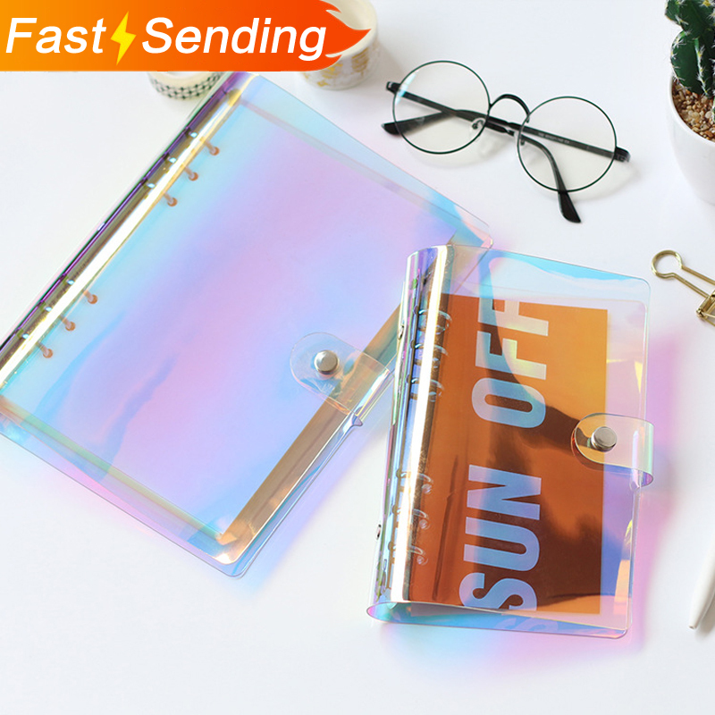 JIANWU 2018 NEW A5 A6 PVC Creative Laser Binder Loose Notebook Diary Loose Leaf Note Book Planner Office Supplies