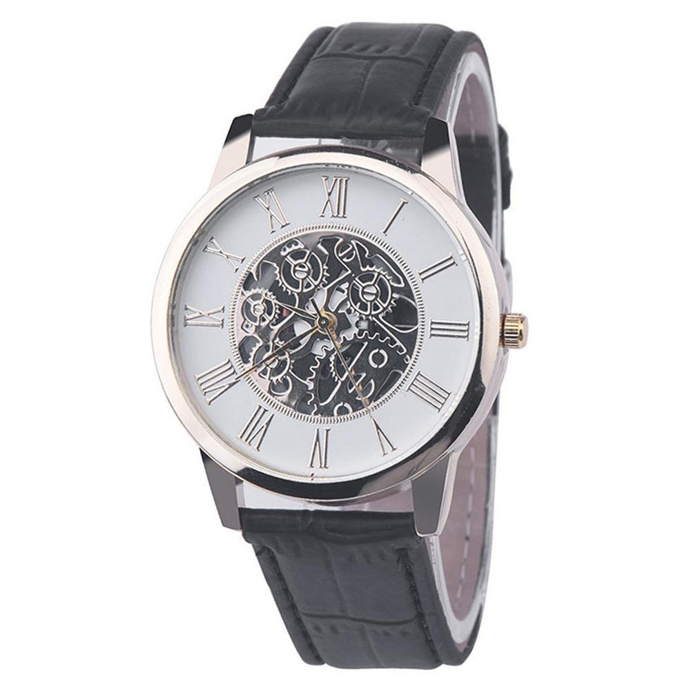 Luxury Mechanical Watch Men Hollow Mechanical Skeleton Round Dial Faux Leather Strap Analog Quartz Clock Watch New часы мужские