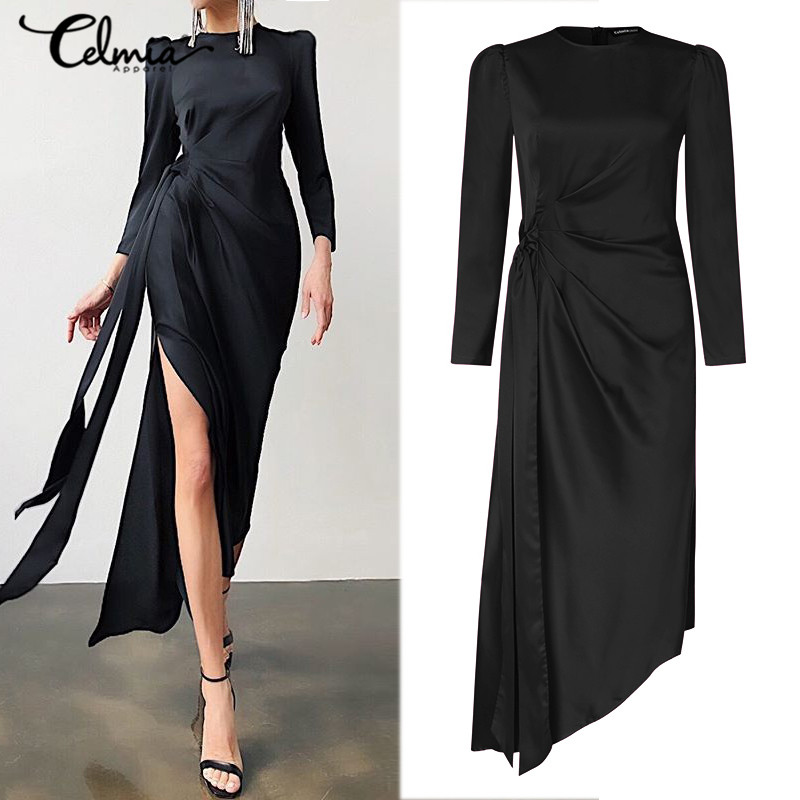 Celmia Women Satin Sexy High Slit Dress 2021 Elegant Long Sleeve Long Maxi Sheath Dress Party Night Club Bodycon Vestidos 5XL