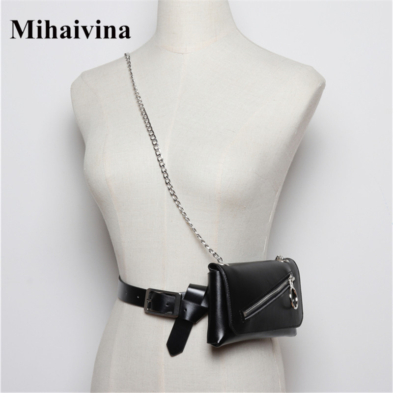 Mihaivina Black Fanny Packs Women Belt Bag Leather Waist Bag Fashion Women's Chain Messenger Shoulder Chest Bags Phone Heuptas