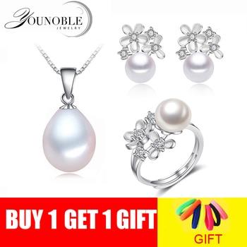 Conjuntos de jóias de pérolas de água doce Real das mulheres, flor de pérolas naturais define 925 jóias de prata anel brinco presente de aniversário da menina branco