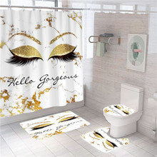 Glitter Sparkly Gorgeous Marble Eye Lash Shower Curtain Set Spark Lashes Bath Curtains Bathroom Accessories Non-Slip Mats Rugs