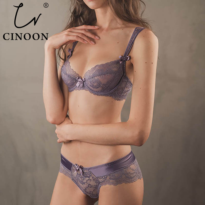 CINOON Ultrathin Lingerie   set   plus size   bras   A B C D Cup sexy   bra     set   transparent women underwear Embroidery Lingerie bralette