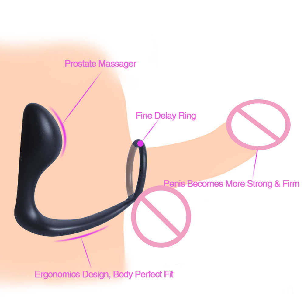Silicone Male Prostate Massager Anal Plug For Men Gay G-spot Adult Sex Toy Delay Ejaculation Cockrings Penis Ring Anal Butt Plug