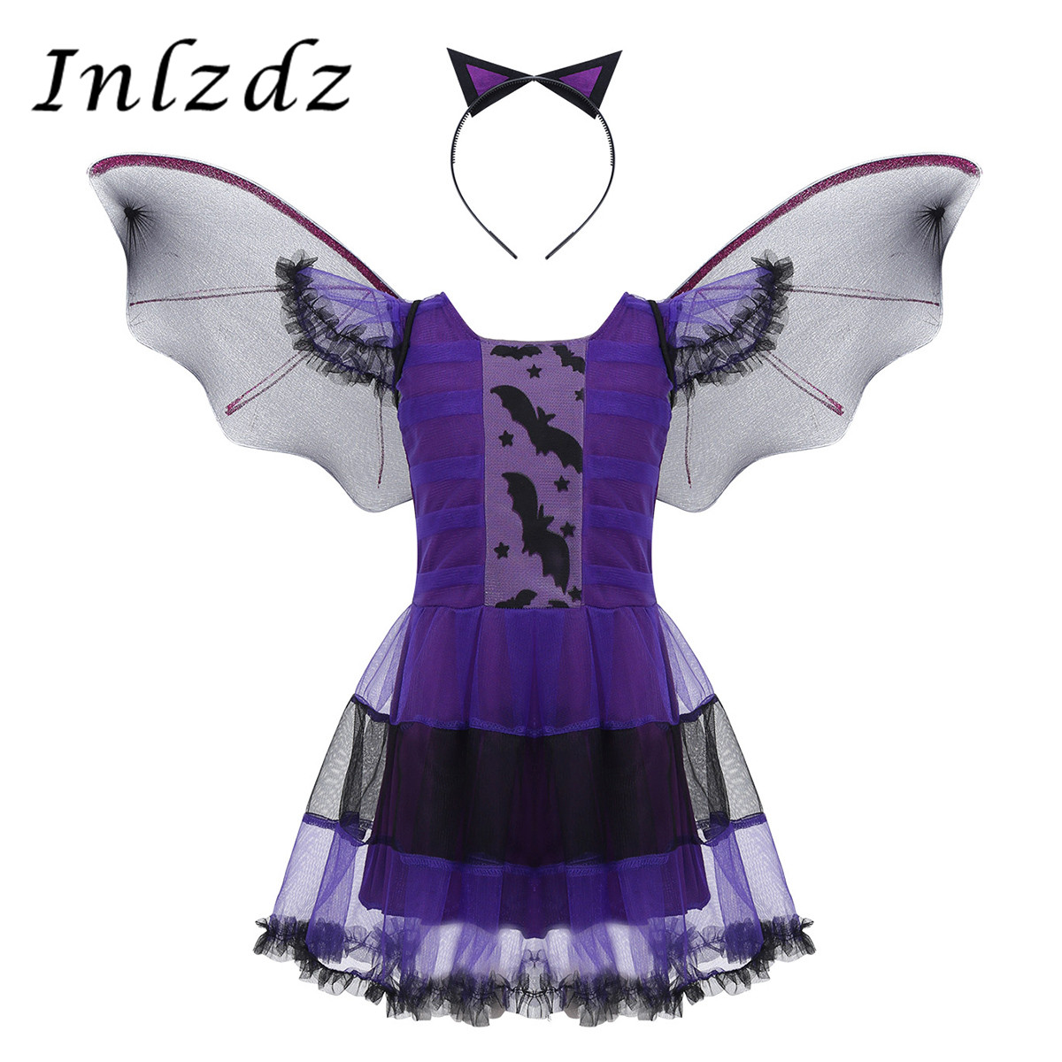 Kids Girls Fancy Cosplay Costume Purple Bat Vampire Princess Dress Witch Clothes With Wing Headband Halloween Role Play Clothing