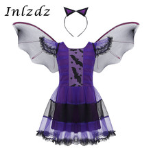 Kids Girls Purple Bat Vampire Princess Dress Fancy Cosplay Costume Witch Clothes with Wing Headband Halloween Role Play Clothing