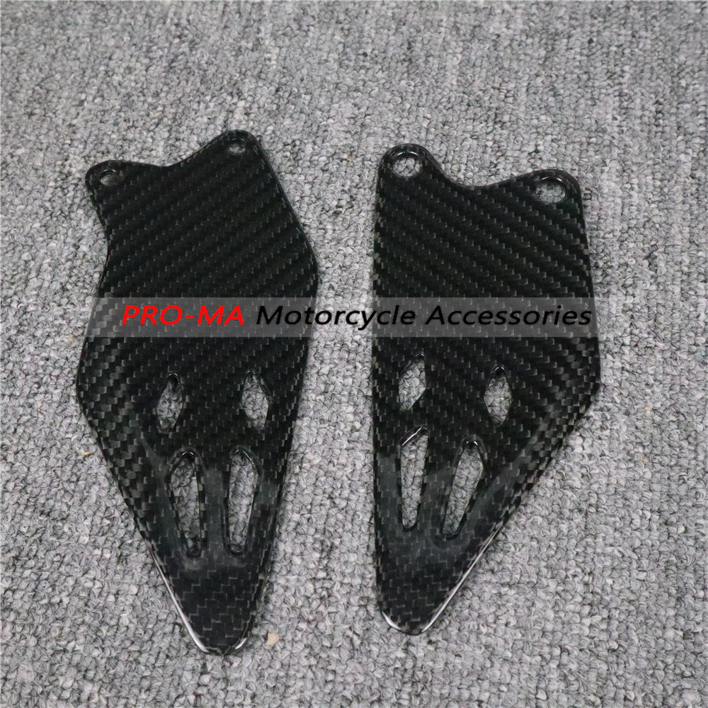 Motorcycle Heel Plates Side Panels In Carbon Fiber For Kawasaki ZX6R ZX-6R 2019+ Twill Glossy Weave