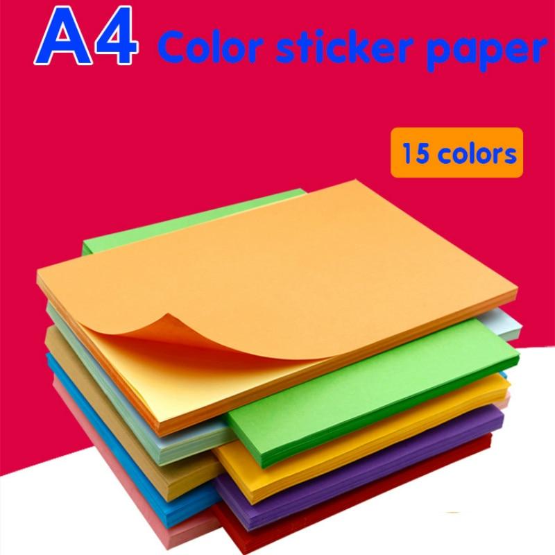 50 Sheets / Bag 80g A4 Cowhide Stickers Color Label Paper Laser Inkjet Printing Kindergarten Students Children Pattern DIY Paper