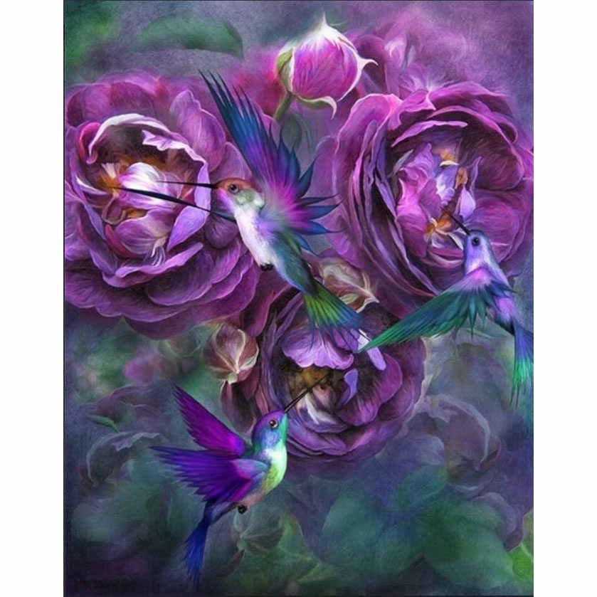 5D יהלומי ציור DIY נוף פרח צבע עלה רקמת רקמה בעבודת יד תפר צלב ערכת חג המולד