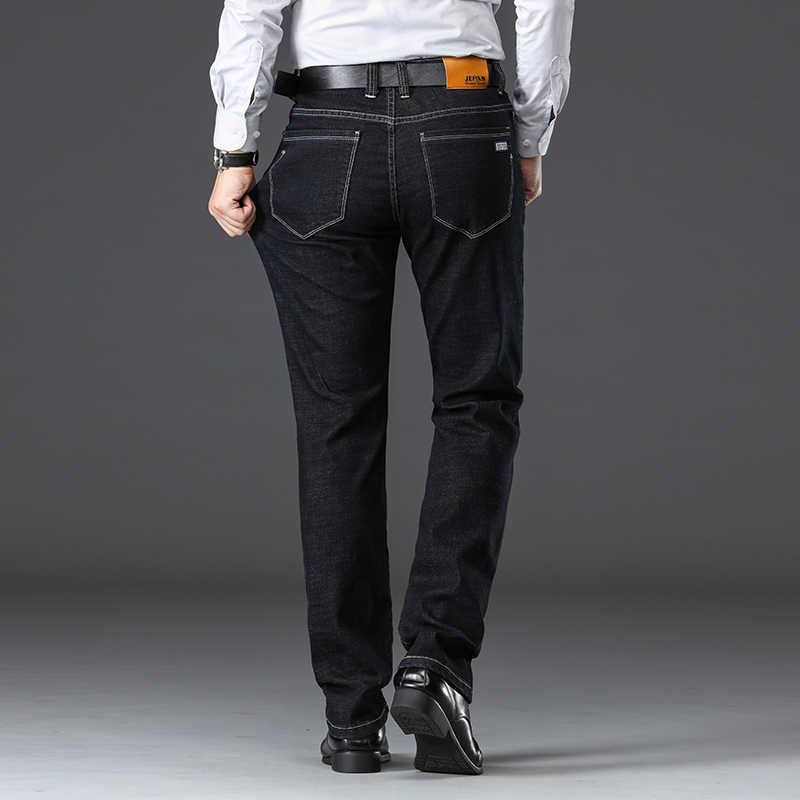 النمط الكلاسيكي الرجال الأعمال أزياء الجينز 2019 الخريف الشتاء جديد أسود أزرق سميكة مستقيم تمتد سراويل جينز الذكور العلامة التجارية
