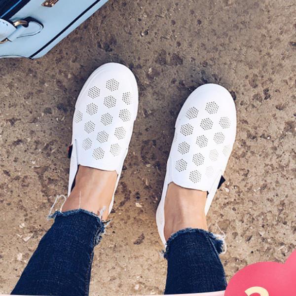 GOGC 2019 Novo Estilo Mulheres Sapatos com Furo Respirável Mulheres Sapatos Rasos As Sapatilhas Das Mulheres Autunm Verão Superfície Líquida Mulheres Deslizamento 890