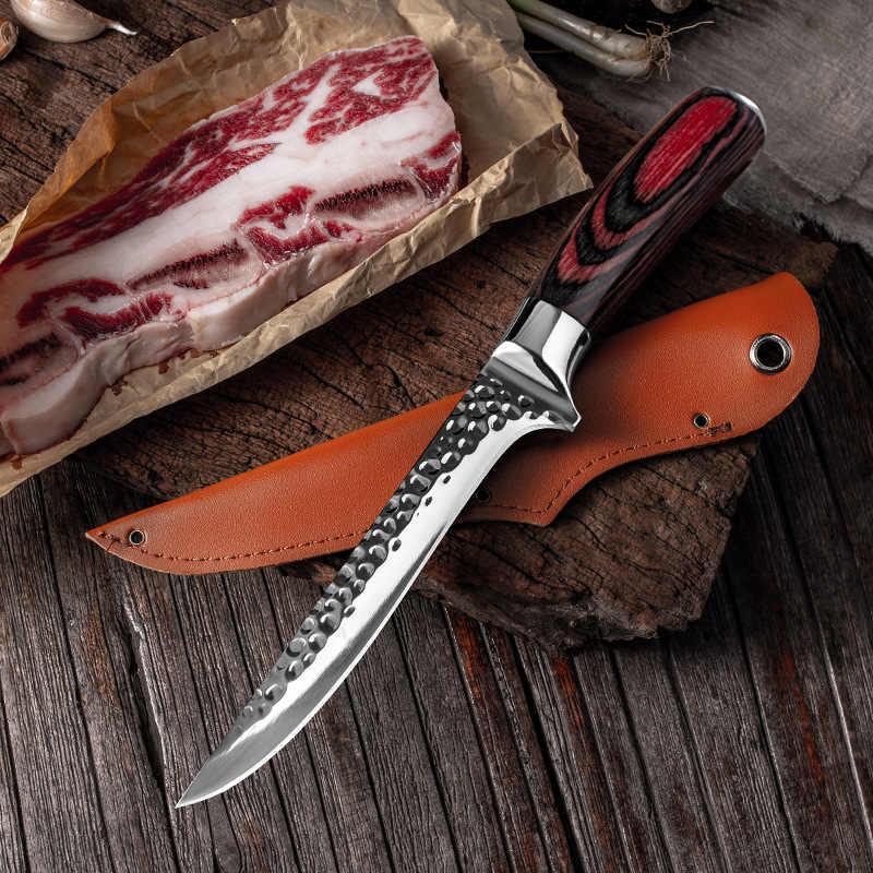 Krojony nóż do ryb odkostnianie i cięcie mięsa specjalny nóż do uboju, obierania i zabijania świń, wzór młotkowania, stal nierdzewna