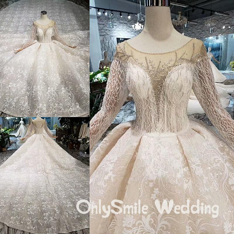 <font><b>Sexy</b></font> Lace Long Sleeves <font><b>Wedding</b></font> <font><b>Dress</b></font> <font><b>2019</b></font> Illusion <font><b>Backless</b></font> Ball Gown Princess <font><b>Boho</b></font> Lace <font><b>Wedding</b></font> Gowns Royal Train Trajes De Nov image
